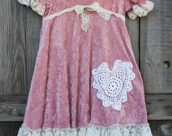 Girls Roses And Lace Velvety Bliss Dress- Size 6