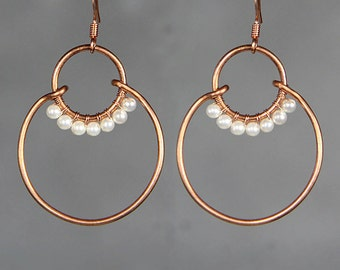 Pearl copper wiring double hoop earring handmade US freeshipping Anni Designs
