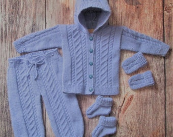 Baby infant girl boy handknitted lavender blue traditional outfit of hooded jacket cardigan trousers leggings pants with booties and mittens
