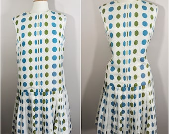 Plus Size Mod Dress // White with Blue and Green Geometric Shapes // Drop Waist with Pleated Skirt