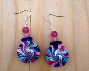 Polymer Clay Earrings: Blue, Purple and Pink Earrings
