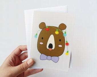Cute Christmas card, Holiday greeting card, Bear with christmas lights