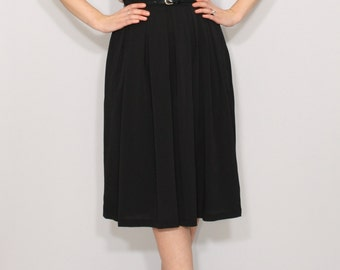 Midi skirt with pockets Black skirt Women skirt Chiffon skirt High waisted skirt
