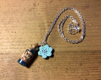 Drink me necklace handmade Alice in wonderland tiny glass glitter bottle eat me