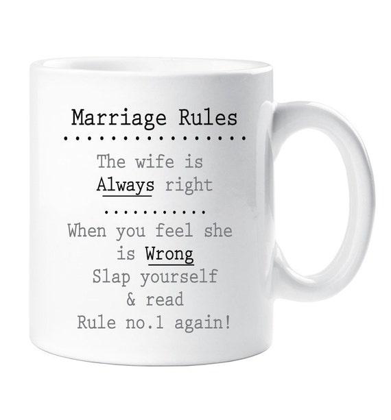 Marriage Rules Mug Wedding Gift Novelty Present Engagement
