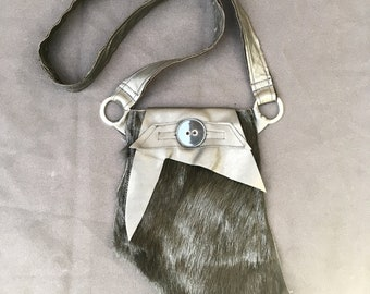 Black Furry Purse - Small Handmade Shoulder Bag - One-of-a-Kind!