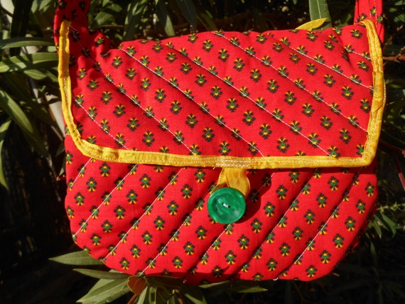 Quilted Red Provence Purse Handmade Floral Diamonds Cotton Red Bag French Provence Fabric Yellow Lined  #SophieLadyDeParis