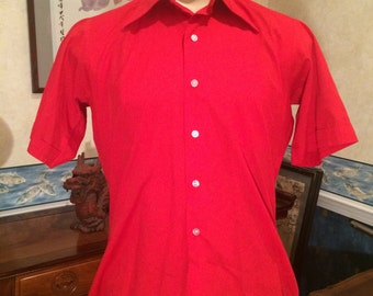 Classy Casual Shirt - 1970s - Red - Mens - Gino California - Short Sleeve - Large - Disco - Mod - Dressy - Preppy