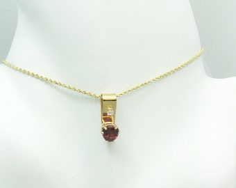 14K Gold  PENDANT Red Garnet Triangle with Cubic Zirconia Accent, Deep Red Garnet Trillion Faceted Gemstone Pendant Necklace PEN14KGARTRICZ