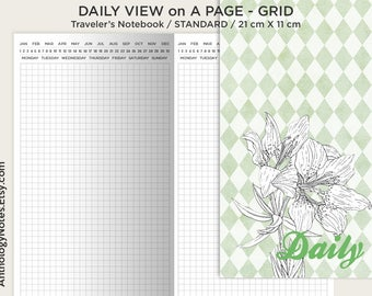 Do1P Insert Grid Printable Traveler's Notebook Standard Size - Grid - Daily View - Minimalist & Functional