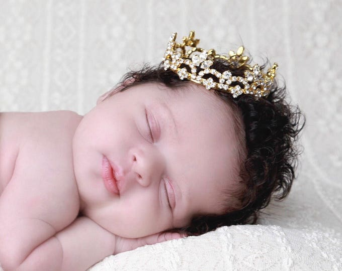 GOLD Rhinestone Baby Crown for newborn or maternity, baby crown, tiara, Austrian Crystals, photographer, ready to ship bebe Lil Miss Swee