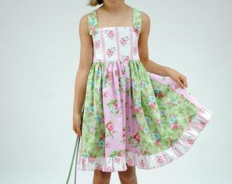 Rosey Posey Girls Dress, Girls Clothing, Girls Dresses, Toddler Dress, Little Girl Dresses, Girls Sundress,  Pink, Green, size 2 - 10
