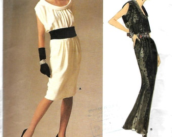 Vogue 1720 Paris Original Yves Saint laurent Bias Roll Collar Dress Pattern, Size 10