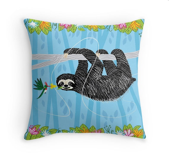 """The Sloth and The Hummingbird - illustrated Pillow Cover / Throw Cushion Cover - Children's room - Home Decor - (16"""" x 16"""") by Oliver Lake"""