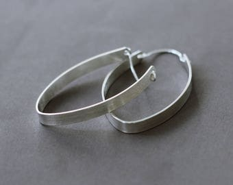 Large Silver Hoop Earrings, Modern Hoop Earrings, Contemporary Earrings, Bold Sassy Hoops