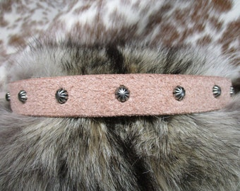 Leather Hatband, Natural Leather, Roughout Leather Hatband with Antique Silver Umbrella Spots and Adjustable Lace Tie