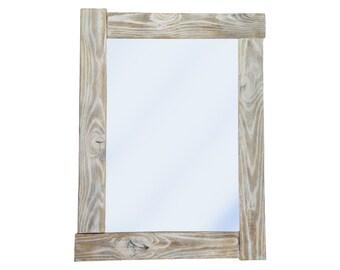 White Venture Mirror in wooden frame