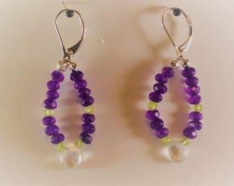 Green Amethyst Briolette  Purple Amethyst and Peridot hoop stlye Earrings