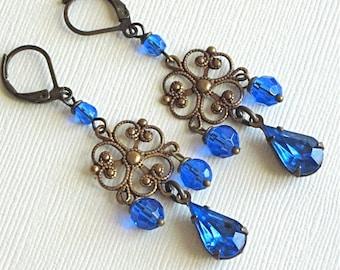 Brass Chandelier Earrings - Filigree Blue Sapphire Jewel