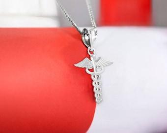 Caduceus Medical Necklace Pendant