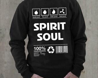 Sweatshirt Spirit Soul hoodie black, Prabhupada, devotees, karma, gita, guru, Vrindavan, mantra, Krishna, eternity, God, haribol, cotton