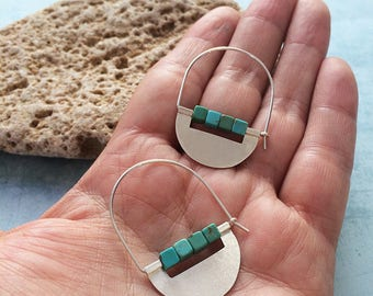 Sterling silver hoop earrings - dangle and drop - tribal earrings - turquoise beads - half moon