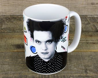 Robert Smith of The Cure MUG coffee GOTH 80s nostalgia fat bob is everything head on door gifts for music lovers boyfriend gifts girlfriend
