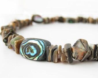 Surfer men's necklace - abalone shell necklace for men - Cliff Diver