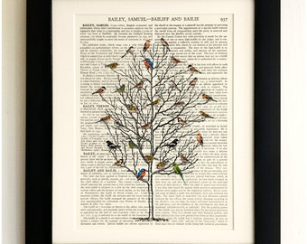 FRAMED ART PRINT on old antique book page - Tall tree with Birds, Vintage Upcycled Wall Art Print Encyclopaedia Dictionary Page
