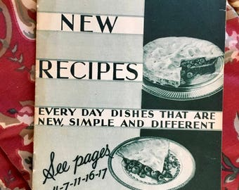 Vintage Cookbook: NEW RECIPES Every Day Dishes That Are New Simple and Different/ Crisco Proctor & Gamble 1930s/ Crisco Recipes