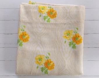 Vintage Queen Flat Sheet  / Yellow & Orange Floral / Vintage Linens