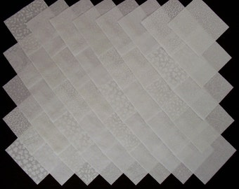 WHITE on WHITE 4 inch Squares, 100% Cotton Prewashed,  Quilt Block Fabric (#stk1B)