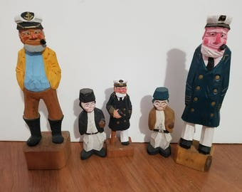 Lot of 5 Nautical Figurines Wooden Hand Carved Captains and Workers 1970s Figurines Folk Art Statues Vintage Carved Figurines