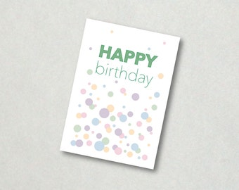 Printable birthday card instant download happy birthday card pale color dots