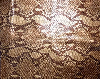 """Leather 10"""" X 12""""   Copper Gold Tan Snakeskin with Subtle Shimmer"""