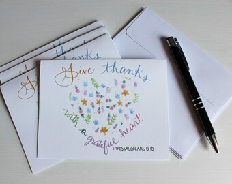 Thank You Note Cards - Set of 4 - Blank - Bible Quote