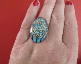 SALE blue and multicolor oval glass cabochon ring