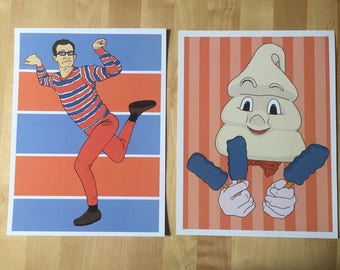 Artie AND Mr Tastee 2-print set from 90s Nickelodeon show Pete and Pete