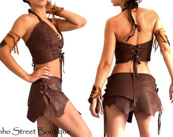 2 Layers Buffalo pixie skirt, Burning Man, wasteland leather skirt,warrior princess, Renaissance skirt, post apocalyptic, Festival, Medieval