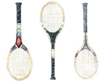 tennis racquet watercolor art giclee print // 8x10 // sports home decor wall art