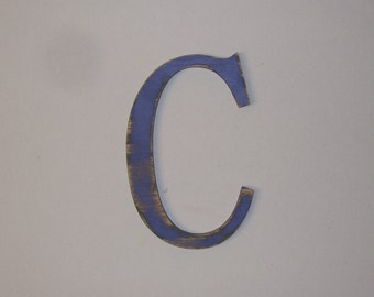 Wood Initial Letter C 12-inch Distressed Initial Choice of Letter and Color!