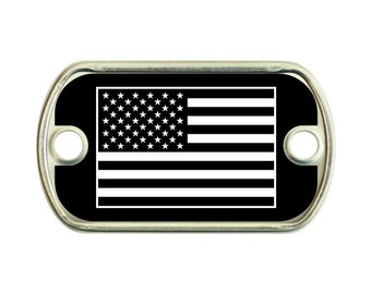 IR Style American Flag 2 Holes Stainless Steel Mini Dog Tag For Paracord Bracelets