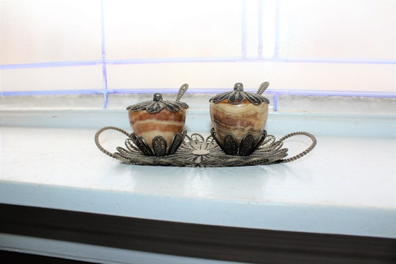 Victorian Condiment Set Silver Filigree and Stone Antique Tableware