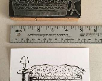 VINTAGE Sofa and Lamp Letterpress Printers Block