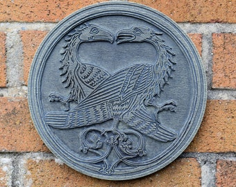 Two Eagles Medieval Resin Plaque