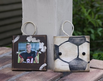 Sports themed Christmas ornaments; picture frame Christmas ornaments; football frame; soccer frame; kids room decor