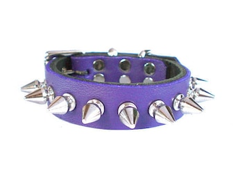 "3/4"" Soft Electric Purple, Thick Leather Spiked Dog Collar with small tree spikes"