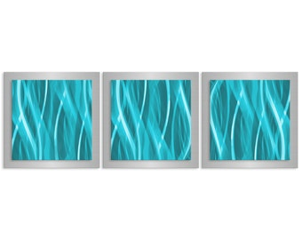 Colored Metal Wall Artwork 'Turquoise Essence' -38x12 in. - Contemporary Décor - Modern Metal Painting