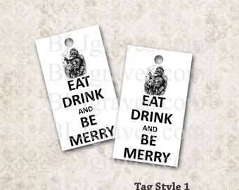 Christmas Tags Santa Vintage Style Party Favor Treat Bag Tags TC035