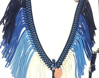 Blue Fringe breast collar, fringe breast collar, pink horse tack, horse tack, barrel racing, paracord breast collar, braided tack, horse